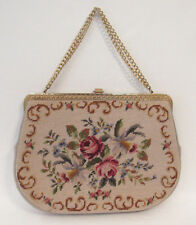VINTAGE 1950s ERIC HANDBAGS NEW YORK FLORAL TAPESTRY NEEDLEPOINT HANDBAG CHAIN