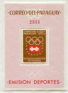 Weeda Paraguay #790a MNH 1963 Winter Olympics Innsbruck Souvenir Sheets CV $44