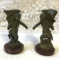 More details for pair green painted spelter posy / spill holders running boys signed, marble base
