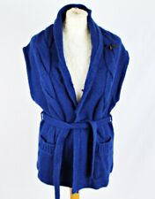 G STAR RAW Sleeveless Cardigan SMALL 10 Blue Chunky Cable Belt Pocket Casual