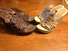 Lot of 2 Pairs NWOB Womens Juniors TA-DA Brandy Wedge Sandals size 9