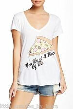 New WILDFOX COUTURE Piece Of Me Pizza T-Shirt Tee Shirt Small S Clean-White