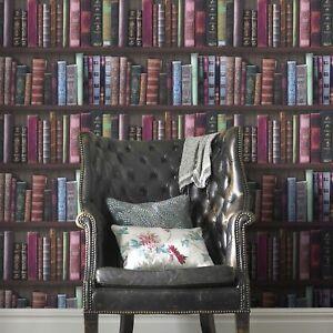 Fresco Book Shelf Bookcase Library Wallpaper