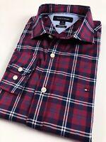 TOMMY HILFIGER Shirt Men's Crisp Poplin Wine Red/ Blue Tartan Checks Classic Fit