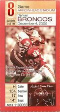 Ticket Football Kansas City Chiefs 2005 12/4 Denver Broncos Tony Gonzalez TD