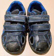 Clark's Toddler Boy flash light Shoes trainer black blue size 4.5F