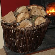 Large Wicker Log Basket Storage Carrying Firewood Fireplace Toy Hamper
