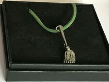"""Witch Broom TG15 English Pewter On 18"""" Green Cord Necklace"""