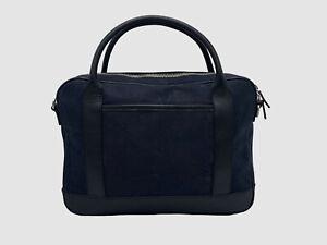 $359 Bloomingdale's Men Blue Waxed Canvas Briefcase Handbag Carry Bag *DAMAGED*