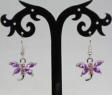 Silver & pinky-lilac / purple rhinestone dragonfly earrings, silver hooks