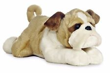 "New AURORA FLOPSIE Stuffed Plush Toy ENGLISH BULLDOG Soft Animal Puppy Dog 12"""