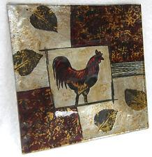 Vincenza coq mosaïque leaf design en verre carré plaque décorative lp16627