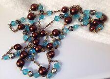 sautoir vintage 160cm perle de verre bleu et marron nacrée couleur or patiné 671