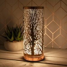 Desire Aroma Lamp Silver Tree Cylinder Electric Touch Wax Melt Oil Burner Light