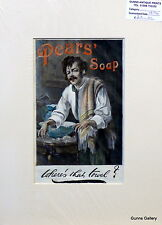 Original Vintage Advert mounted ready to frame Pears Soap Where's the Towel 1894