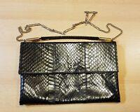 Excelente bolso de mano vintage cuero y serpiente auténtico
