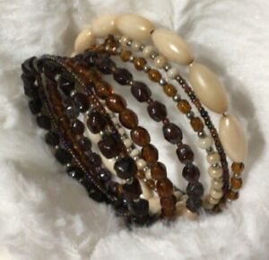 Large Memory Wire Wrap Bracelet - 8 Different Beads Handmade Bangle