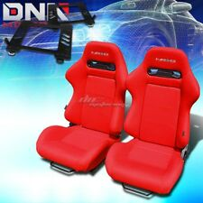 FOR 98-05 MIATA MX-5 NB BRACKET+NRG TYPE-R RED CLOTH RACING SEAT RECLINABLE X2
