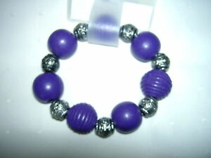 Chic New Bracelet - Purple - Silver Coloured Wooded Beads