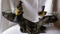 Teelicht Teelichthalter Vogel Vögel auf Baumstamm 2 fach 31 cm