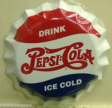 "PEPSI COLA 12"" bottle cap embossed metal sign drink ice cold pepsi cola pc-14"