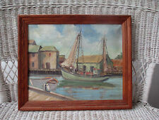 Old oil painting Nautical Harbor Impressionistic scene signed J.Bandfield Framed