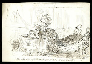 THE QUEEN OF HEARTS MADE SOME TARTS THERESA ROSE MARRABLE ANTIQUE INK DRAWING