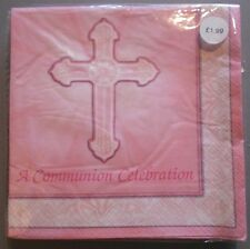 16 x FIRST HOLY COMMUNION NAPKINS GIRLS PARTY TABLEWARE PARTYWARE pink