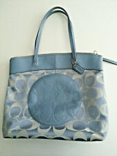 COACH Large Baby Blue Jacquard LAURA Tote Leather Trim F18335