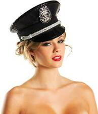 Sexy Sequins & Badge Accent Police Officer Captain Hat Costume Accessory Women's
