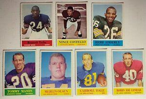 7 ORIGINAL 1964 PHILADELPHIA GUM FOOTBALL CARDS #25 #32 #71 #88 #91 #105 #170VG+