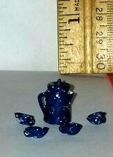 NOS Town  Square Miniatures Coffee Pot w/4 mugs Blue 1:24  Splatterware