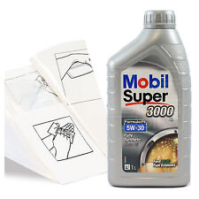 Engine Oil Top Up 1 LITRE Mobil Super 3000 X1 FE 5W-30 5W30 +Gloves,Wipes,Funnel