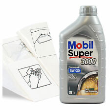 Engine Oil Top Up 1 LITRE Mobil Super 3000 X1 FE 5w-30 1L +Gloves,Wipes,Funnel