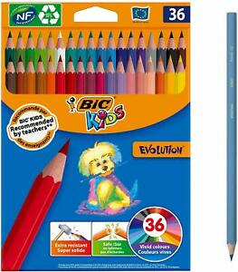 BIC Kids Crayons de Couleur Coloris Assortis Etui Carton de 36