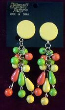 Fairland Creation Tropical Party Multi-color Costume Dangle Clip-on Earrings Yel