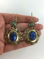 Muse By Gypsy Blue Beryl, Turquoise & White Topaz Scalloped Cut Bronze Earrings