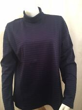 Lands' End Long Sleeve Womens Large Navy Blue Striped Cotton Turtleneck