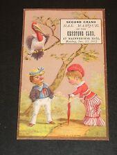 1882 SECOND GRAND BAL MASQUE MAENNERCHOR HALL KEYSTONE CLUB TRADE CARD INVITE