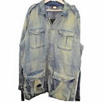 Polo Ralph Lauren Trench Coat Denim Jean Jacket Made in Tunisia Men's Size XL