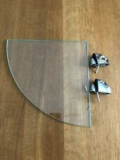 CLEAR GLASS CORNER SHELF WITH CHROME FIXINGS 25cm