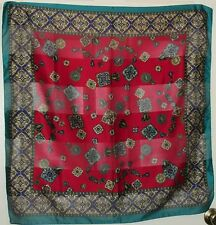 """TERRIART Teal, Deep Cherry Medallions Border 30"""" Square Scarf-Vintage"""
