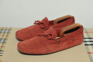 Mens TOD's for Ferrari Red Suede Driving Moccasin Loafers Shoes size UK 9.5