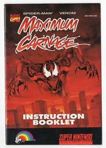 Maximum Carnage Spider-Man Venom Genuine Super Nintendo SNES Instruction Manual