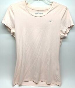 Nike Sport Womens Tee Size Large Pink V-neck Short Sleeve Fit Dry Silver
