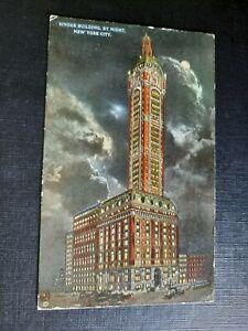 Singer Building By Night, New York City 1918 Postcard