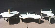 Vintage Mid Century Modern coffee table 3 pc set kidney wood glass