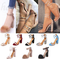 Plus Size Summer Women's Work Bandage High Heel Shoes Ankle Strap Sandals Sexy