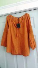Massimo Dutti Burnt Siena Orange 100% Cotton Peasant Blouse – Size Small – NWT