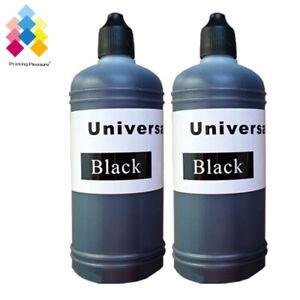 2 Black 100ml Universal Printer Refill Ink Bottles for CISS or Refillable